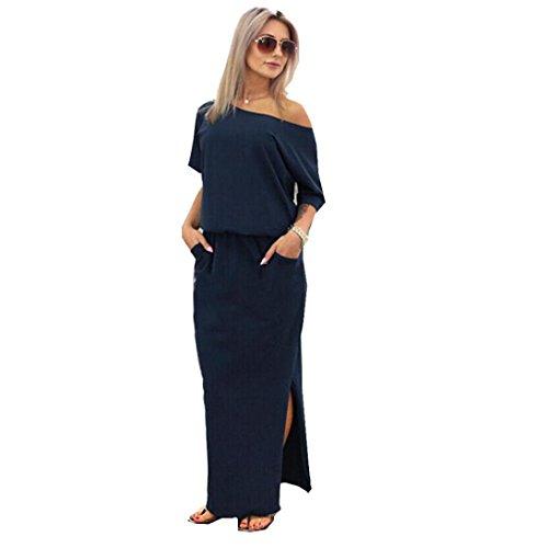 Hot Sale!Women Long Dress,Canserin Women's 2017 New Summer Long Maxi Boho Evening Party Dress with Pocket (L, Navy Blue)