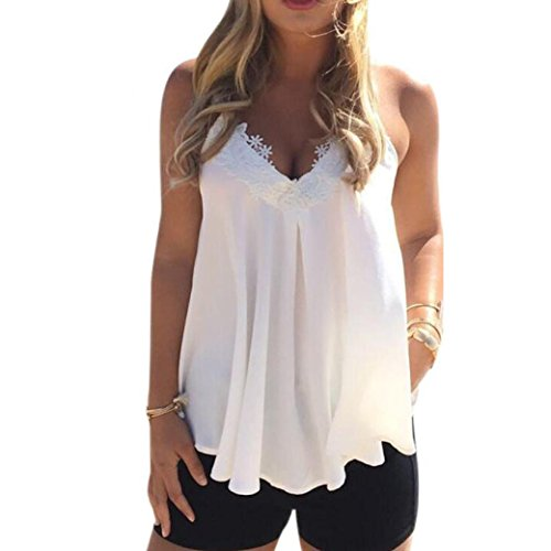 2017 New Women Summer Chiffon Vest ONEMORES(TM) Sleeveless Shirt Blouse Casual Tank Tops (L)