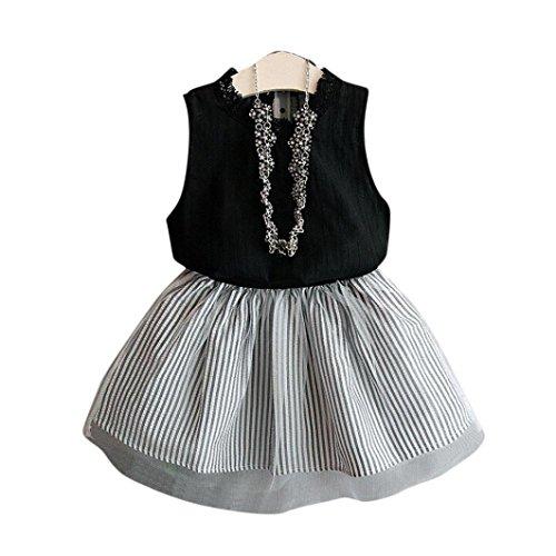 2017 Summer Kids Girls Cat Pattern Shirt Top Butterfly Tutu Skirt