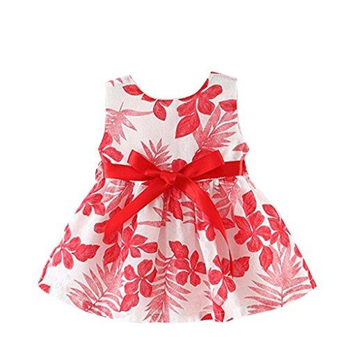 Girls Clothes Odeer 2017 Summer Baby Kids Girls Princess Sleeveless Dress Print Party Dress (ღ Size : 9 Month, ღ : Red)