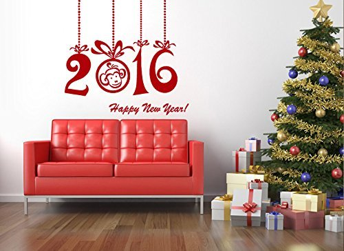 Cock Christmas Wall Decals Happy New Year Merry Christmas 2017 Holidays Decoration Decal Vinyl Sticker Home Nursery Home Decor Living Room Art Murals MS651