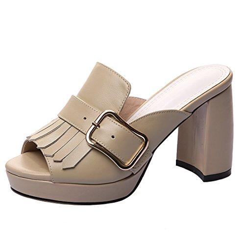 AIYOUMEI Women's Leather Peep Toe Block High Heel Outdoor Platform Sandals Slippers with Tassel