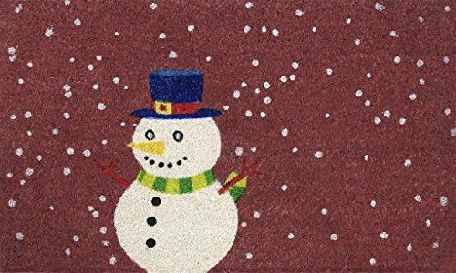 Snowman 18 x 30 Inches Coco Coir Door Mat, Winter Holidays Welcome Mat