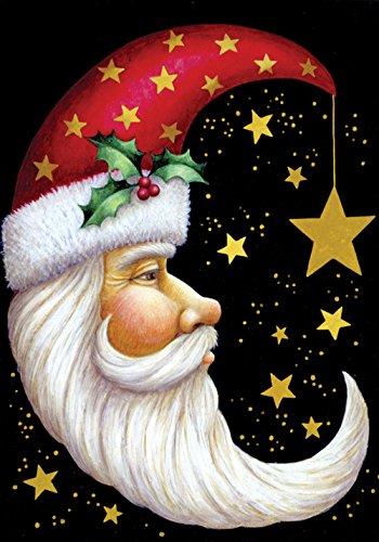 Toland – Santa Moon – Decorative Christmas Celestial Star Winter Holiday USA-Produced House Flag